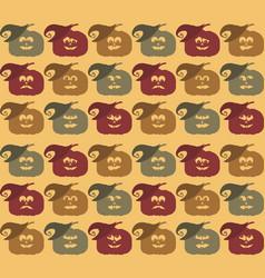 halloween pumpkin face pattern vector image