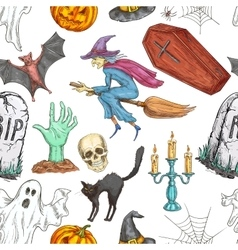 Halloween seamless pattern of sketch symbols vector