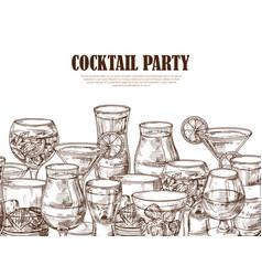 Hand drawn alcoholic drinks seamless vector