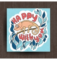 hand drawn greeting card with cute animals vector image