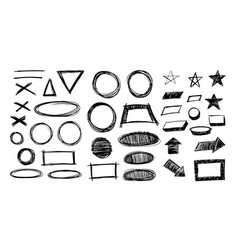 Hand drawn scribble circle shapes rectangle shape vector