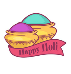 happy holi indian holiday isolated icon color vector image