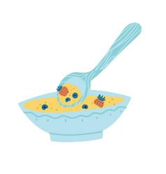 healthy breakfast with porridge or muesli and vector image