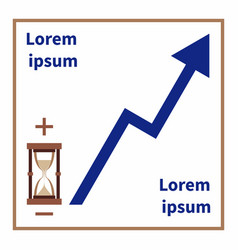 hourglass plus and minus rising trend line vector image