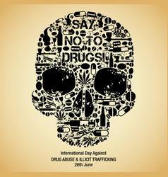 International day against drug abuse background vector