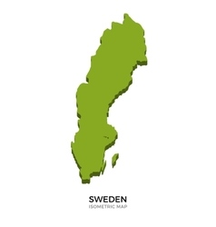 Isometric map of Sweden detailed vector image