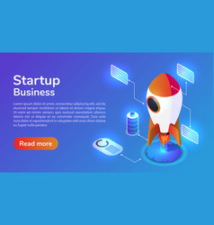 isometric web banner launches a space rocket vector image