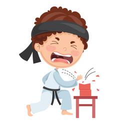 Kid making karate vector
