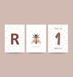 Kids milestone card nursery posters capturing vector