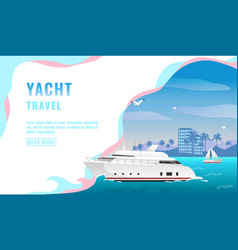 landing page design banner with luxury yacht vector image