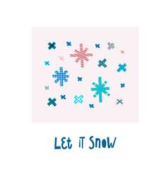 let it snow winter christmas snowflake season card vector image