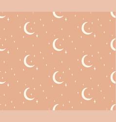 Line cosmic seamless pattern moon stars vector