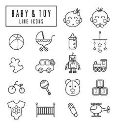 Line icons babyamptoy vector