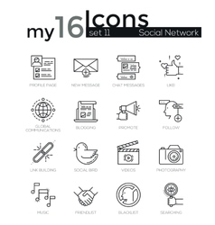Line icons set Trendy Modern Flat thin linear vector image