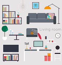 Living room Furniture and Home Accessories vector
