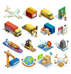 Logistics Isometric Icons Set vector image