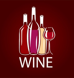 logo wine bottle and wine glass vector image