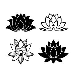 Lotus flower signs set vector
