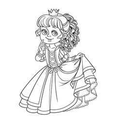 Lovely princess outlined picture for coloring book vector