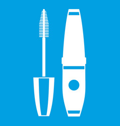 Mascara mascara brush icon white vector