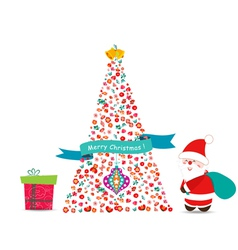 Merry christmas tree with flowers vector