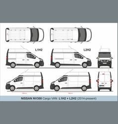 Nissan nv300 cargo van l1h2 and l2h2 2015-present vector