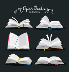 Open books new open book set with bookmark vector
