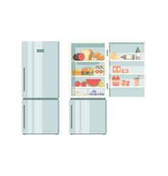 Open refrigerator healthy food in frozy vector