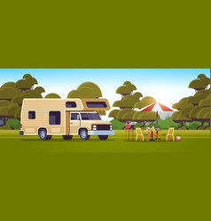 outdoor grill with picnic table and camping vector image