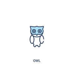 Owl concept 2 colored icon simple line element vector