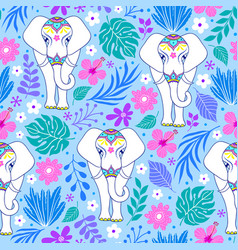 pattern with elephants and tropical flowers vector image