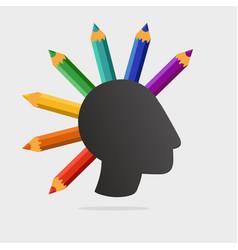 punk head with color pencils art school vector image