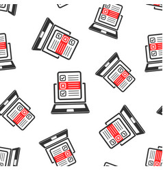 questionnaire laptop icon seamless pattern vector image