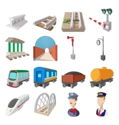 Railroad cartoon icons vector