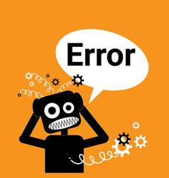 robot broken error message in chat bubble vector image