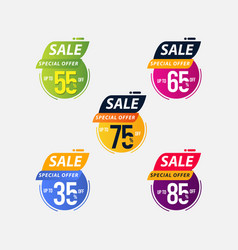 Sale special offer up to 35 55 65 75 85 off vector