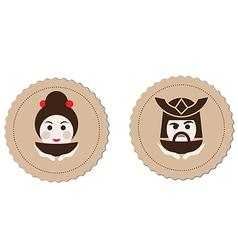 Samurai and geisha tea ceremony logo element vector