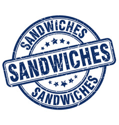 Sandwiches blue grunge round vintage rubber stamp vector