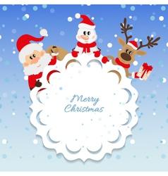 Santa Claus snowman and reindeer vector image