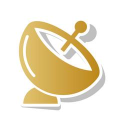 Satellite dish sign golden gradient icon vector
