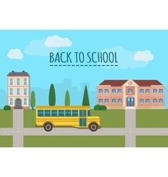 School building and school yellow bus vector
