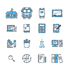 school elements filled outline icon set on white vector image