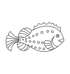 sea fish icon in outline style isolated on white vector image