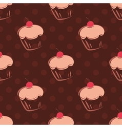 Seamless cupcake pattern or tile background vector