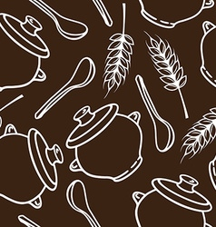 Seamless pattern with spikes pots and spoons vector
