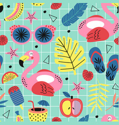 seamless pattern with summer paradise vector image