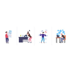 Set different business concepts businesspeople vector