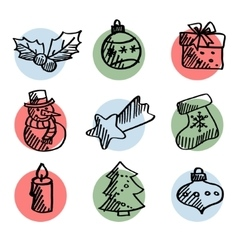 Set of cute hand drawn christmas icons isolated vector