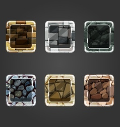 Set of shiny stone concave square button vector image