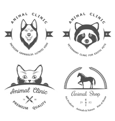 set vintage logos for vet clinic vector image